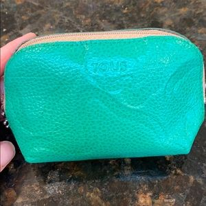 Tous small pebbled green zipper pouch